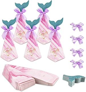 Hiverst 50pcs Mermaid Party Favors Box Sets, Nautical Wedding Candies Containers with Glitter Tail for Kids, Baby Shower D...