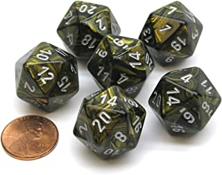 Chessex Leaf 20 Sided D20 Dice, 6 Pieces - Black Gold with Silver Numbers