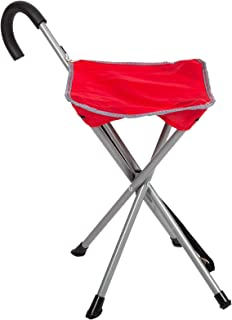 Mac Sports Folding Cane Chair for Women and Men | Walking Stick, Stool-Style, Folding Cane, Cane with Seat, Quad Base, Collapsible, Folding Stools for Adults and Seniors, Travel Friendly | Red