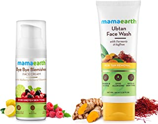 Mamaearth Bye Bye Blemishes For Pigmentation, Sun Damage & Spots Correction + Ubtan Natural Face Wash for Dry Skin (Combo Pack of 2)