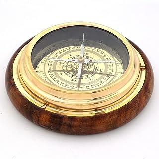 هدیه هند هدیه Emporium قطب نما چوبی و برنجی صنایع دستی عتیقه هدیه تزئینی HCF215