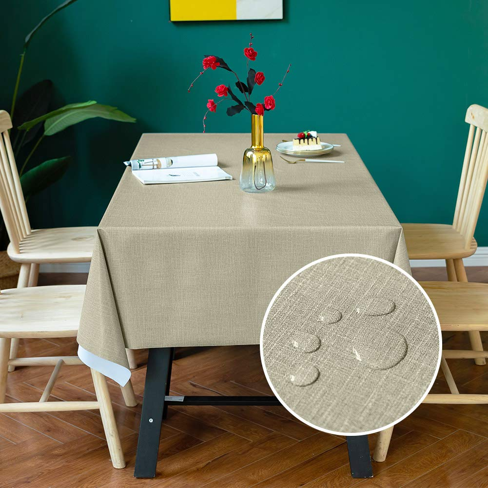 Carvapet Manteles Rectangular Impermeable Manteles Algodón Lino Mantel Manteles para Cocina Comedor Mesa Buffet Mantel de la Tabla (Café, 137x137cm): Amazon.es: Hogar