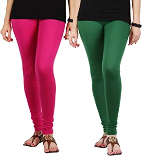 FabLab Cotton Lycra Churidar Leggings(FLCLCOMBO2PDG,Pink, Dark Green,Free Size) Combo Pack of 2