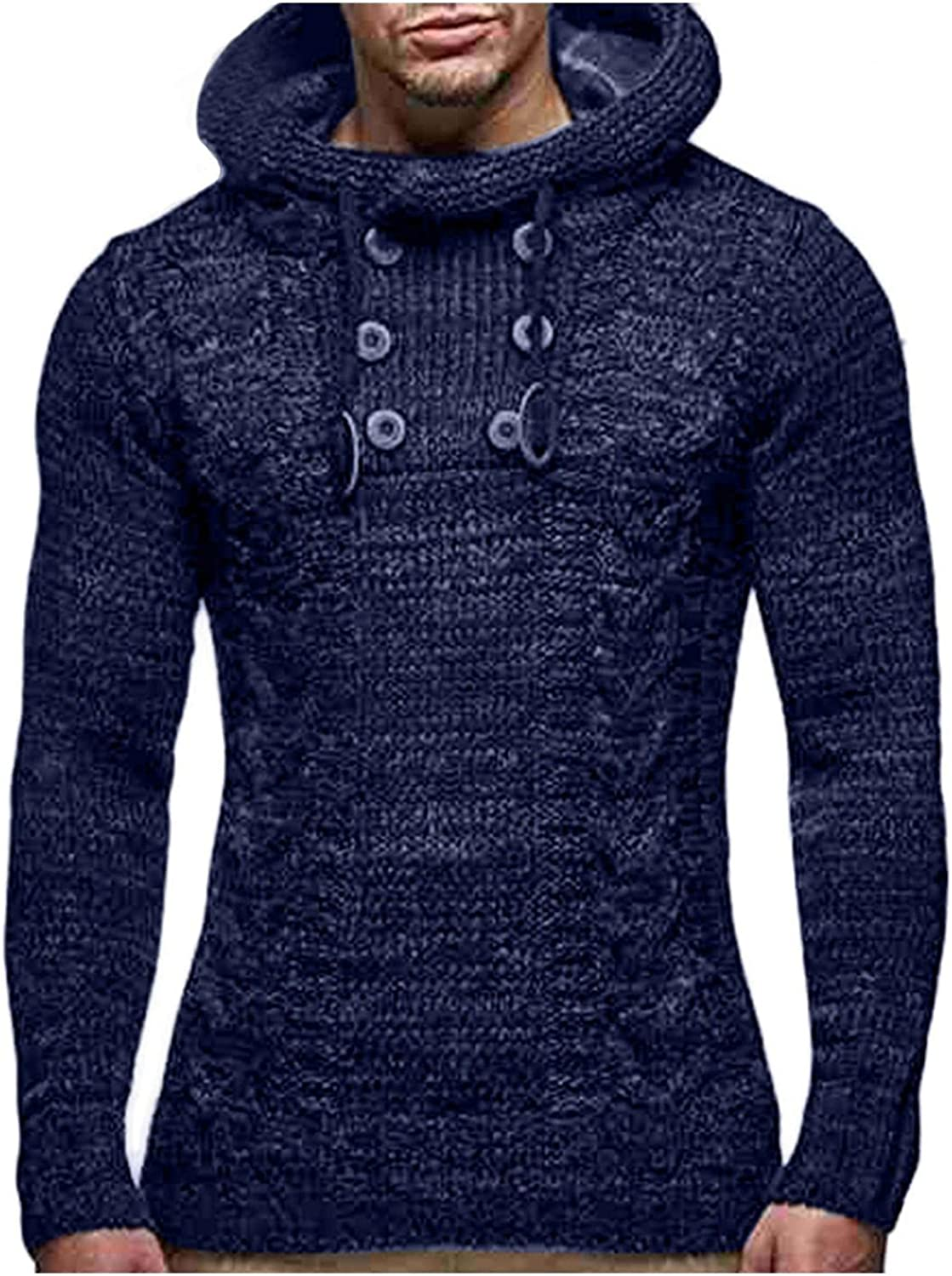 Burband Mens Cowl Neck Cable Knitted Cardigan Sweaters Turtleneck Long Sleeve Pullover Hoodie Sweatshirts Big and Tall