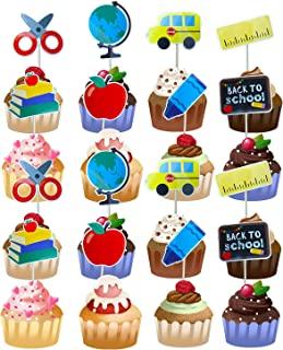 36PCS Welcome Back to School Party Cake/Cupcake Toppers- First/100th Day of School/Back to School Party Supplies 2021 Them...
