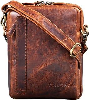 STILORD 'John' Small Men's Leather Bag Vintage 8.4 Inch Tablet Bag Shoulder Bag Men Shoulder Bag with Zip Leather