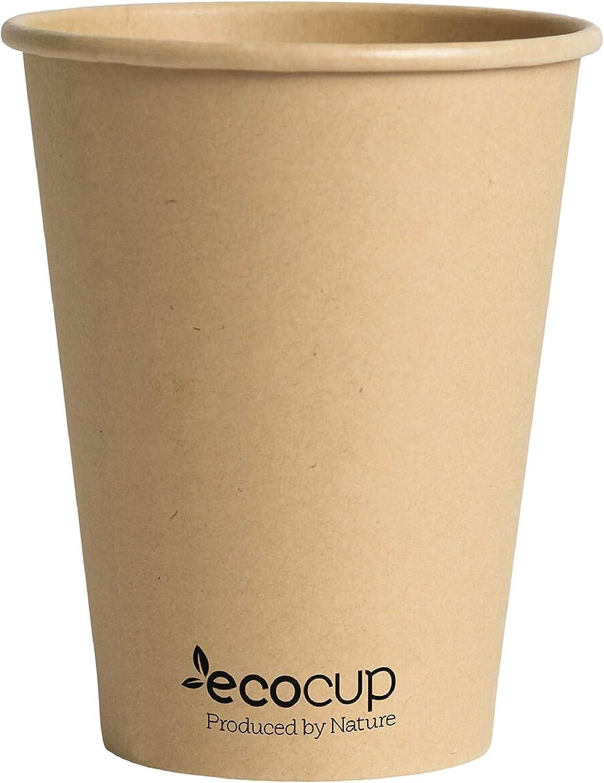 Vasos de Café Desechables, Biodegradables y Compostables- 50Uds 400ml/ 12oz -Materiales 100% Ecológicos: Cartón Con Revestimiento de Bioplástico PLA Ingeo™. Kraft