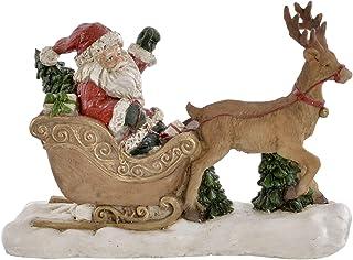 Sinestour Asciugamani Decorativi da Bagno con Babbo Natale sulla Slitta con Renna nella Notte di Natale Panni per la Pulizia della Cucina Strofinacci con Anello per appenderli.