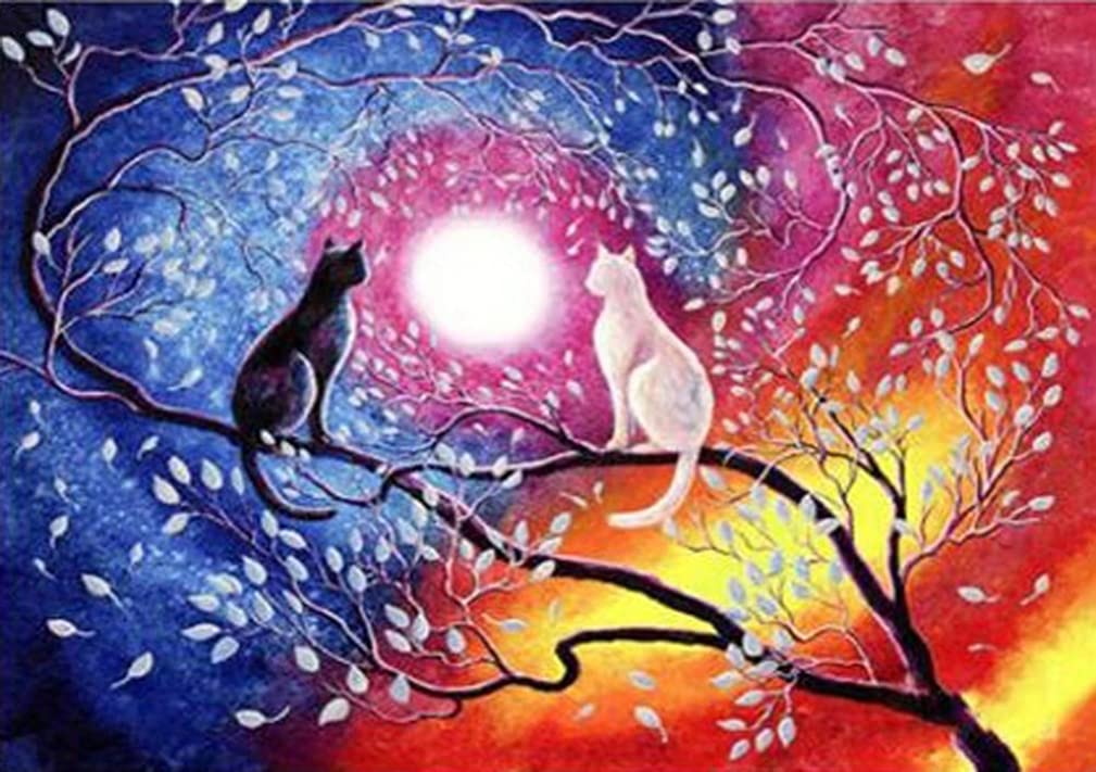 Diamond Painting by Number Kits, Karida 5D DIY Diamond Painting Full Round Drill Black and White Cat Embroidery for Wall Decoration 12X16 inches