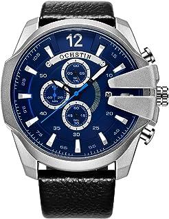 ساعة يد أوشستين للرجال بحزام جلدي كوارتز رياضية ساعة معصم تقويم عصرية عادية 3ATM مقاومة للماء للرجال