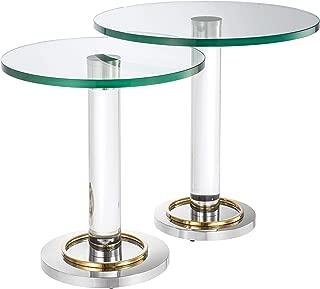 Round Glass Pedestal Side Table Set of 2 | Eichholtz Pallade | Modern Accent Cocktail End Stem Table Set | Luxury Living Room Furniture