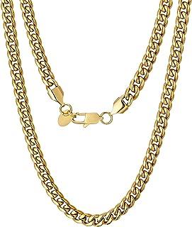 KRKC 18k قلادة الذهب للرجال، 3 ملليمتر / 6 ملليمتر الرجال وصلة كوبية، سلسلة الذهب والفضة، سلاسل هيب هوب متينة للارتداء في ...