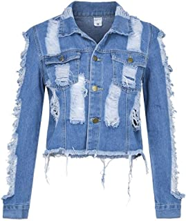 ecbd48d040f41 Amiley Women s Casual Crop Denim Jacket Coat Distressed Destroyed Holes Long  Sleeve Button Coat