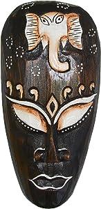 Kunsthandwerk Asien Maske Elefant - Holz, 20cm, Handmade, Elefantenmaske, Deko-Maske, braun