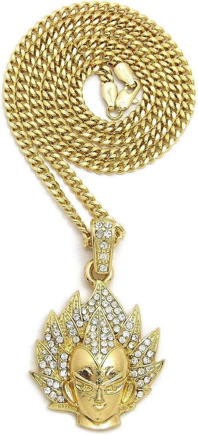 BLINGFACTORY Hip Hop Iced Gold PT Vegeta Pendant & 24