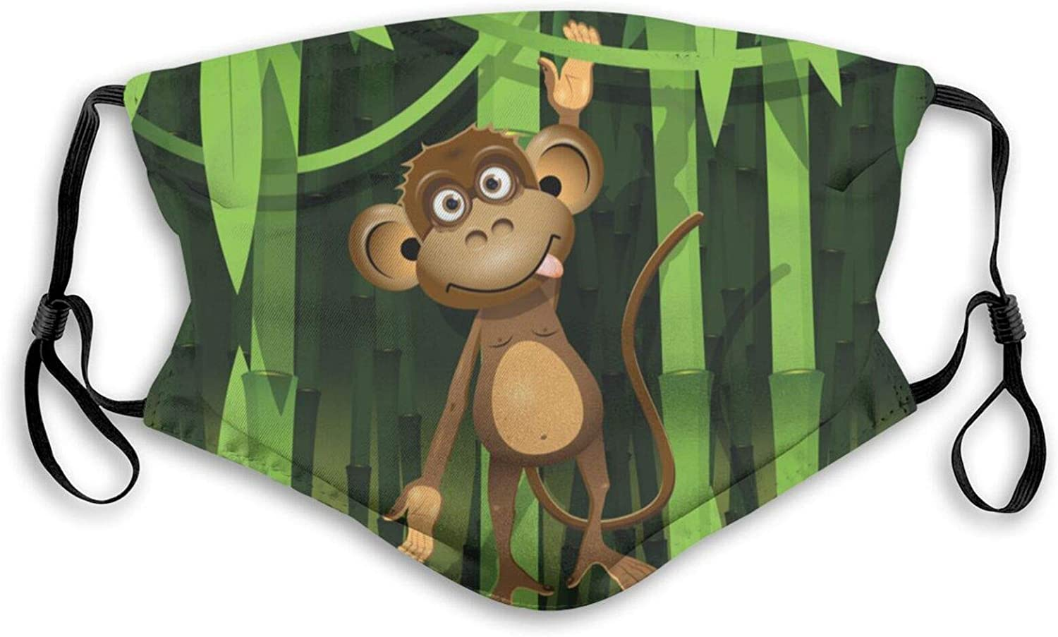 Windproof Fashion Filter Sponge Mask A Brown Monkey in The Jungle Reusable Face Mask Balaclava Washable Outdoor Nose Mouth Cover for Men and Women(2 Filter) Adult