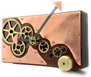 Reclaimed Cedar Slab Wall Clock with Brass Gears and Copper Plates,