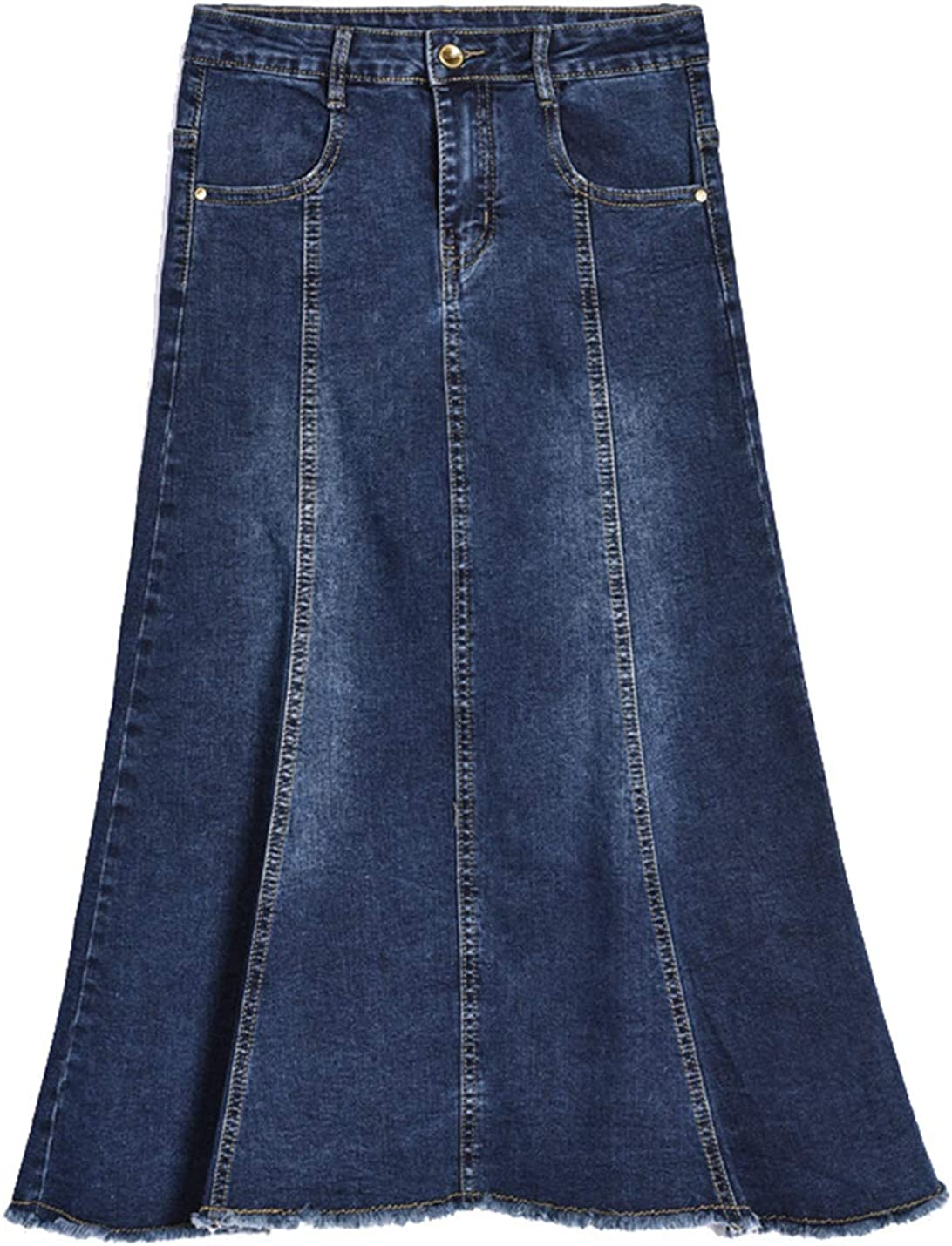 Gihuo Women's Vintage A-Line Midi Jean Denim Fishtail Skirt with Pockets