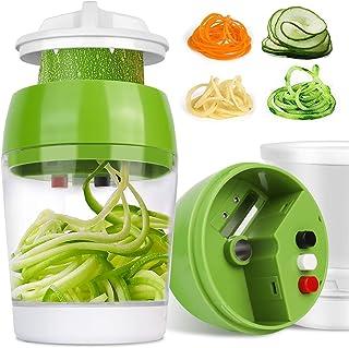 Coupe Légumes Spirale 4 en 1, Spiraliseur de Légumes Spiralizer Legume Trancheuse Mandoline Cuisine, Spiralizer pour Spagh...