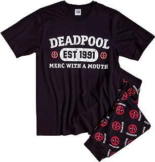 Mens Official Licensed Deadpool Pyjamas 'MERC with A Mouth EST 1991' | Mens Marvel Superhero Pj Set Small - X-Large