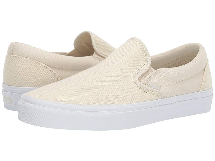 Vans  Classic Slip-Ontm ((Herringbone) White Asparagus/True White) Skate Shoes