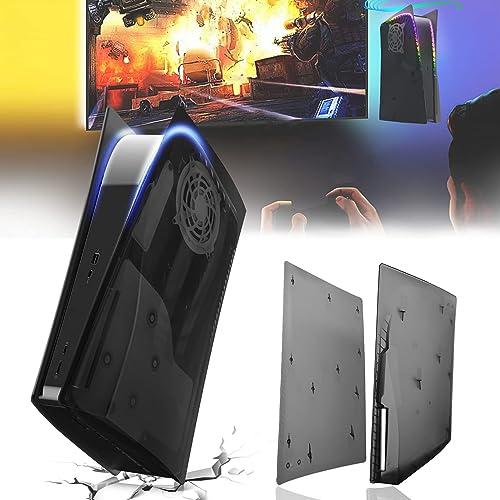 Coque PS5 Translucent, Plaque PS5 Noir Remplacement pour Disc Edition Empêche la Poussière et Les Rayures, ABS Matéri...