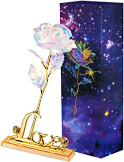 Zonon Galaxy Rose Artificial Rose Flower Plastic Colorful Rose with Love Shape Base for Valentine's Day, Mother's Day, Tha...