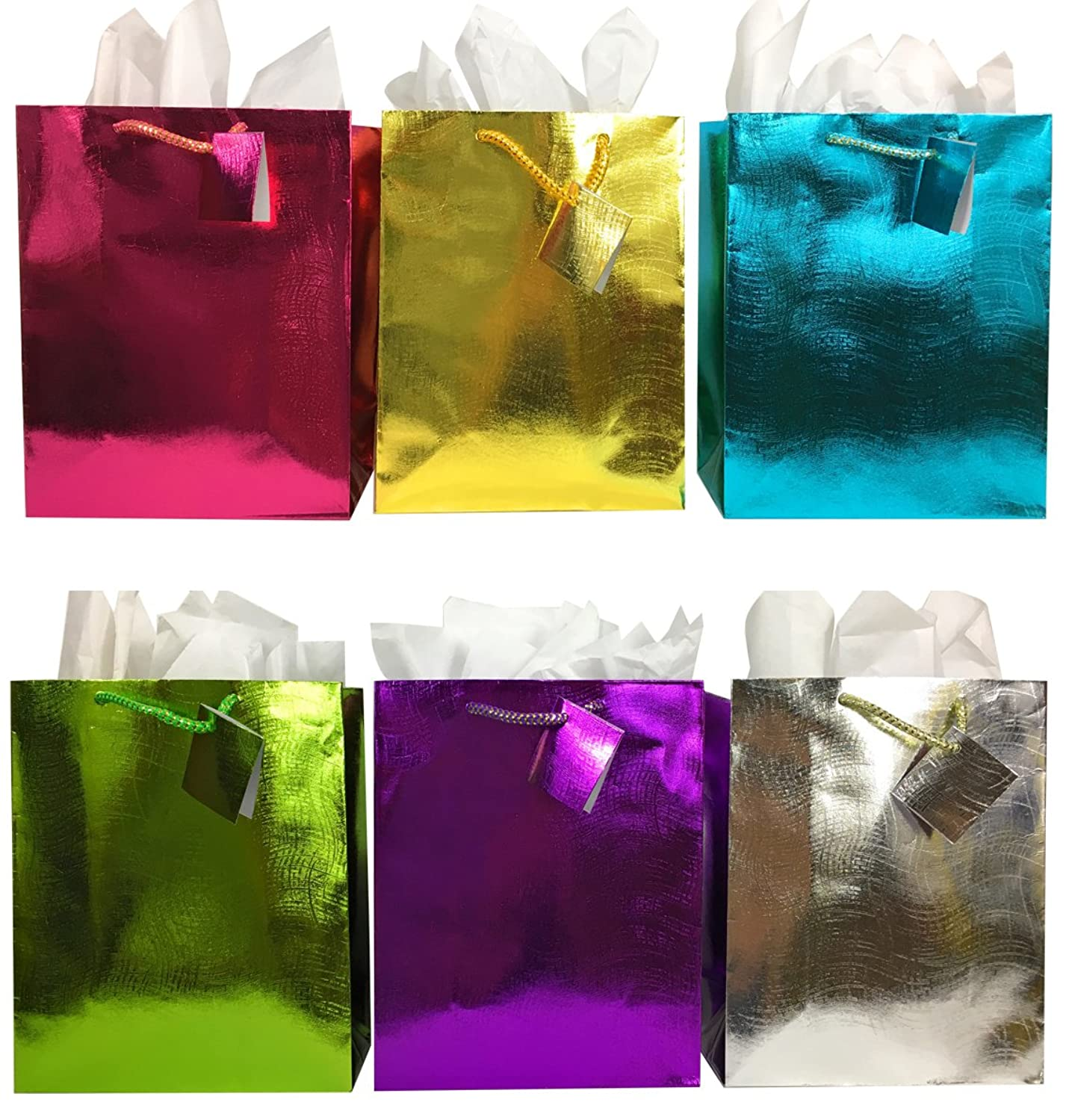 Set of 6 Gift Bags + Tissue Paper, Red, Purple, Green, Blue, Gold, Silver