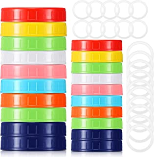 20 Pieces Wide and Regular Colored Plastic Mason Jar Lids with Silicone Gasket and Colored Plastic Storage Caps Compatible...