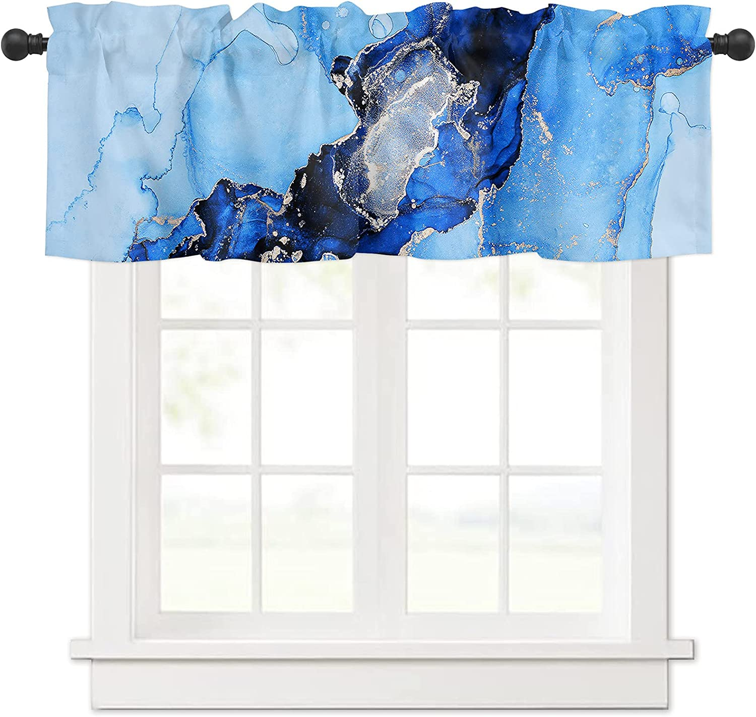 Ink Painting Blue and Gold Marble Curtain 2021 autumn winter Award-winning store new for Valances Crack Win