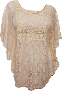 31f2381d4e34f eVogues Plus Size Sheer Crochet Lace Poncho Top Made in USA