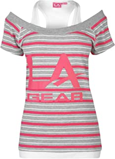 LA Gear Womens Multi Layer T Shirt T-Shirt Tee Top Ladies Short Sleeve