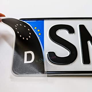 2 Aufkleber Nummernschild EU Zeichen Schwarz TÜV Aufkleber Plakette Ersatz Sticker Tuning Auto Aufkleber Halter Nummernschild KFZ