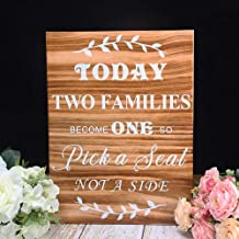AKITSUMA Pick a Seat Not a Side, Wedding Seating Sign, Rustic Wedding Sign, Made of Real Wood