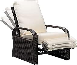 Babylon Outdoor Recliner Wicker Patio Adjustable Recliner Chair with 5.11