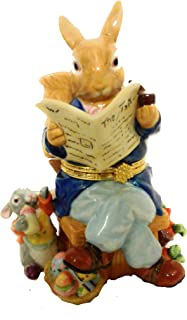 None Mr. Peter Rabbit and Baby Rabbit Collectible Easter Decor Figurine & Trinket Holder, High Gloss Ceramic (4 x 7 inches)