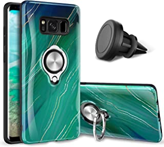 eSamcore Samsung Galaxy S8 Plus Case – Luxury Marble Ring Holder Phone Cases + Vent Car Phone Mount for Samsung Galaxy S8 Plus 6.2 Inch [Emerald Green]