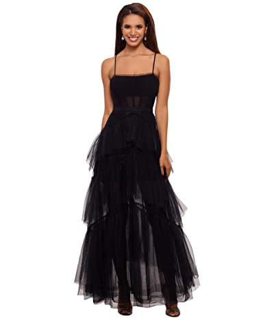 Betsy & Adam Long Corset Tiered Mesh Illusion Gown