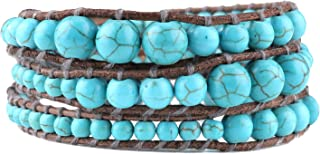 C·QUAN CHI Genuine Leather Wrap Bracelet Turquoise Beaded Strand Bracelet Fashion Handmade braided Bohemian Jewelry for Women Man Gifts