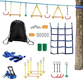 Lucky Link Ninja Warrior Slackline Obstacle Course, Jungle Gym Monkey Bars Kit for Kids Adults 49ft ly0245