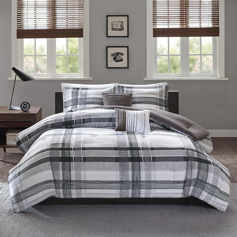 Intelligent Design Rudy Comforter Reversible Solid Plaid Stripe Printed Ultra Soft Microfiber Down Alternative Pleated Decor Pillow Bedding-Set, Twin Twin XL, Black