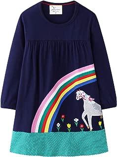 KIDSALON Little Girls Cotton Crewneck Print Animals Long Sleeve Dress