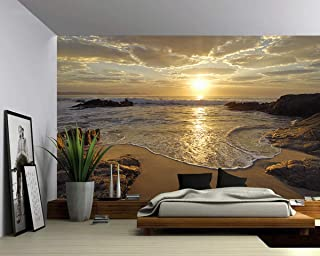 Picture Sensations Canvas Texture Wall Mural, Seascape Sunrise Sea Ocean Wave Sunset Beach, Self-Adhesive Vinyl Wallpaper, Peel & Stick Fabric Wall Decal - 144x96