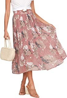 Women's High Waist Chiffon Floral Ruffle Pleated Midi Skirt