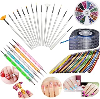 JOYJULY Nail Art Kit includes 30 Striping tape & 6 in 1 Striping Roller Box & 12 Colours Rhinestones & 5pcs Dotting Pen & ...