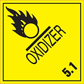 Adhesive Label Preprinted Oxidizer Shipping Label, 4 x 4 Inches, Yellow and Black, Roll of 500 (44209F)