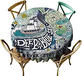 Whale Decor Stain-Resistant Tablecloth Cute Whale on Wavy Ocean Design Swimming to an Island with Palm Trees Easy Care D43 Blue Pink and Green
