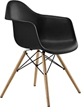 DHP Mid Century Modern Chair with Molded Arms and Wood Legs, Black