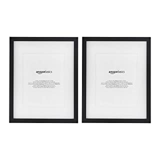 AmazonBasics Photo Frame with Mat - 28 x 36 cm matted to 20 x 25 cm, Black, 2-Pack