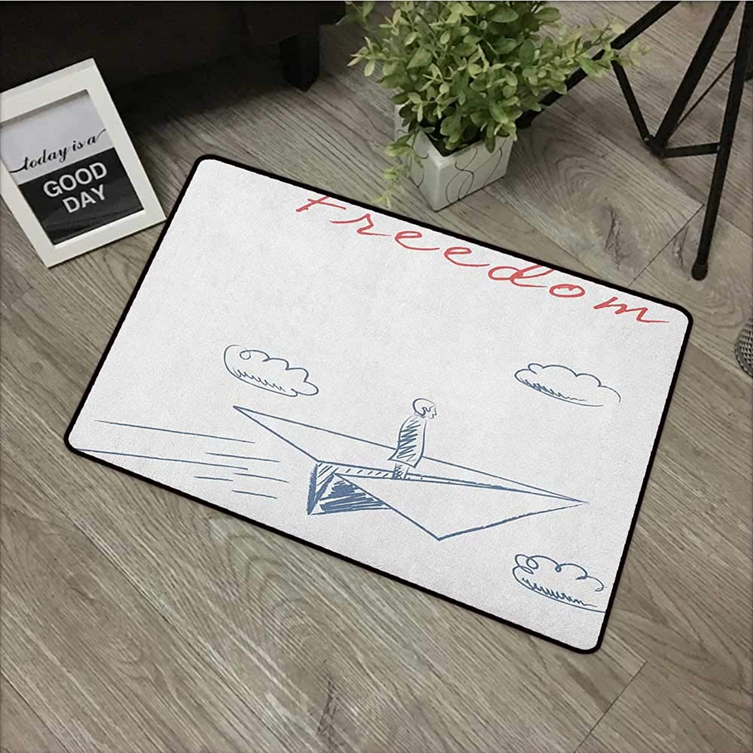 Clear Printed Pattern Door mat W35 x L59 INCH Adventure,Flying Paper Plane in Hand Drawn Sketch Cartoon Style Freedom Text Clouds, blueegrey Red White Non-Slip, with Non-Slip Backing,Non-Slip Door Mat